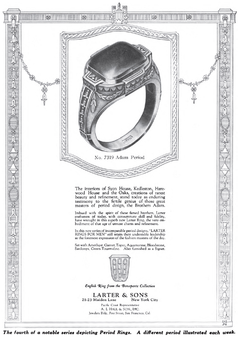 Larter Classical Revival ring advertisement.