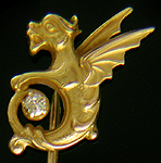 Alling dragon and diamond stickpin. (J9017)