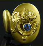 Regal winged lion cufflinks  with sapphires. (J9147)