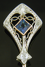 Art Deco sapphire and diamond stickpin. (J9452)