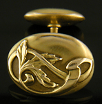 Art Nouveau cufflinks with whiplash vines. (J8777)