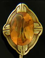 Hans Brassler citrine stickpin. (J9377)