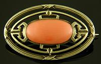 Brassler coral brooch. (J9274)