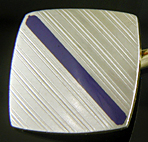Carrington platinum and blue enamel cufflinks. (J9300)