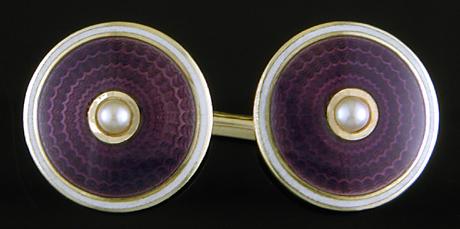 Carrington purple enamel and pearl cufflinks. (J9476)