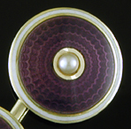 Carrington purple enamel and pearl cufflinks. (J9476)