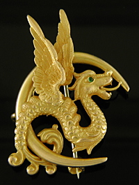 Carter dragon and crescent brooch. (J9384)