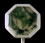 Carter, Gough Moss Agate stick pin. (J9000)