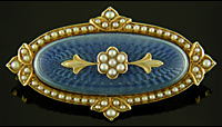 Carter blue guilloche enamel brooch. (J9306)