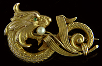 Victorian lion-serpent brooch. (J9079)