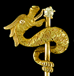 Carter, Howe serpent and diamond stickpin. (J9209)