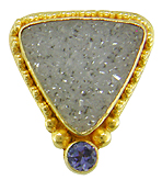 A striking pair of Drusy Quartz and Tanzanite earrings hand crafted in 22kt yellow gold. (J4738)