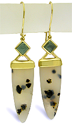 Dalmation Drop Dendritic Agate and Green Tourmaline 18kt Yellow Gold Dangle Earrings (J5720)