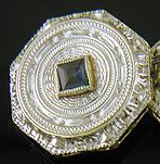 Art Deco sapphire cufflinks. (J9318)
