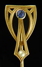 Frank Krementz sapphire and pearl stickpin. (J9313)