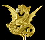 French stickpin of rising dragon with diamond. (J9163)