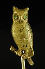 Victorian owl stickpin. (J9249)
