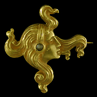 Art Nouveau brooch of woman. (J9316)