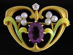 Krementz Art Nouveau amethyst and pearl brooch. (J9052)