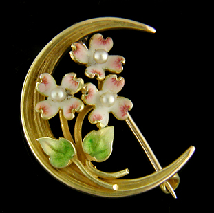 Art Nouveau dogwood and moon brooch. (J9075)