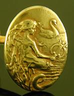 Krementz mermaid and swan cufflinks crafted in 14kt gold. (J9382)