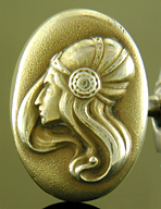 Art Nouveau heroine cufflinks. (J9211)