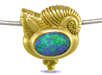 18kt Yellow Gold Opal and Moonstone Slide Pendant (J3864)