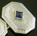 Art Deco sapphire and diamond cufflinks. (J9399)