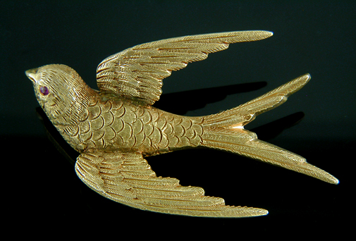 Riker Bros. swallow brooch. (J9097)