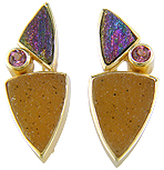 Drusy Quartz,  Rainbow Hematite and Rhodolite Garnet 18kt yellow gold earrings (J2905)