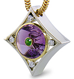 Amethyst torus and diamond pendant.