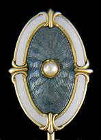 Wordley, Allsopp & Bliss guilloche enamel and pearl stickpin. (J9108)