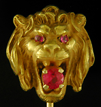 Lion and ruby stickpin. (J9152)