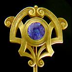 Art Nouveau sapphire stickpin. (J9309)
