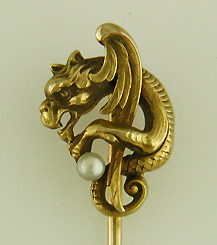 Winged serpent stickpin with pearl. (J8992)