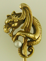 Winged serpent stickpin with pearl. (J9027)