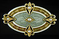 Edwardian guilloche enamel brooch. (J9413)
